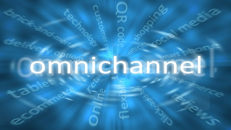 Omnichannel title in the center of solutions for retail including brick and mortar, technology, customer service, q r codes, online shopping, social media, smart phone, e-commerce, m-commerce, reviews, flexibility, tablets and delivery options